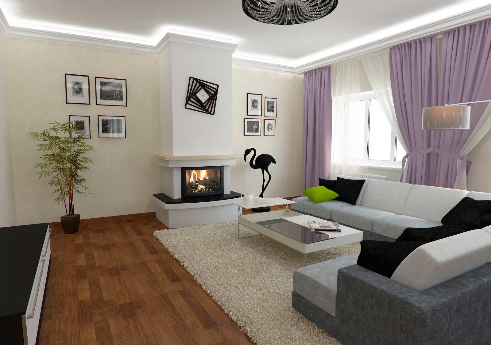 Дизайн зала в коттедже